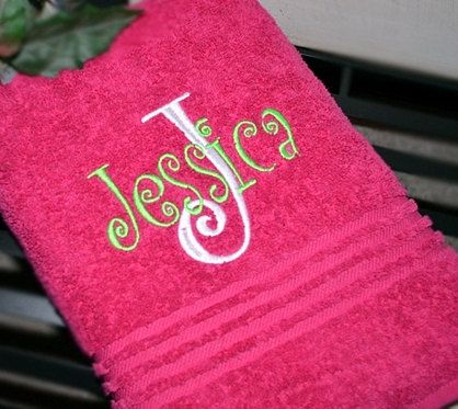 30 x 54 Monogram Beach Towels Monogram Bath Towels by KNKMonograms