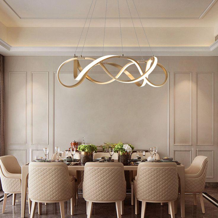 Modern Style Gold/Chrome Ribbon LED Chandelier For Restaurant Dining