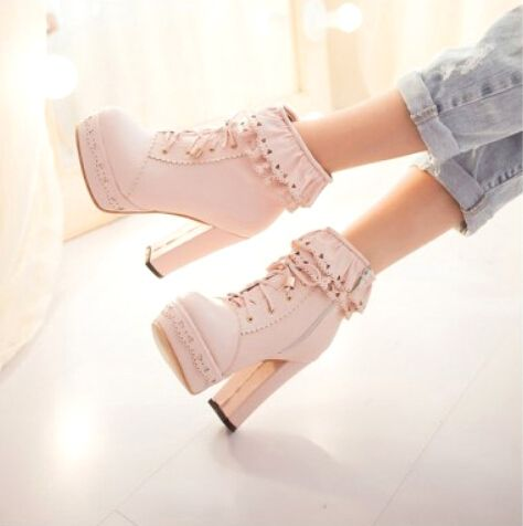 Sweet lolita ruffled Japanese fashion hollow out high heels Martin boots/K0316 - Thumbnail 1