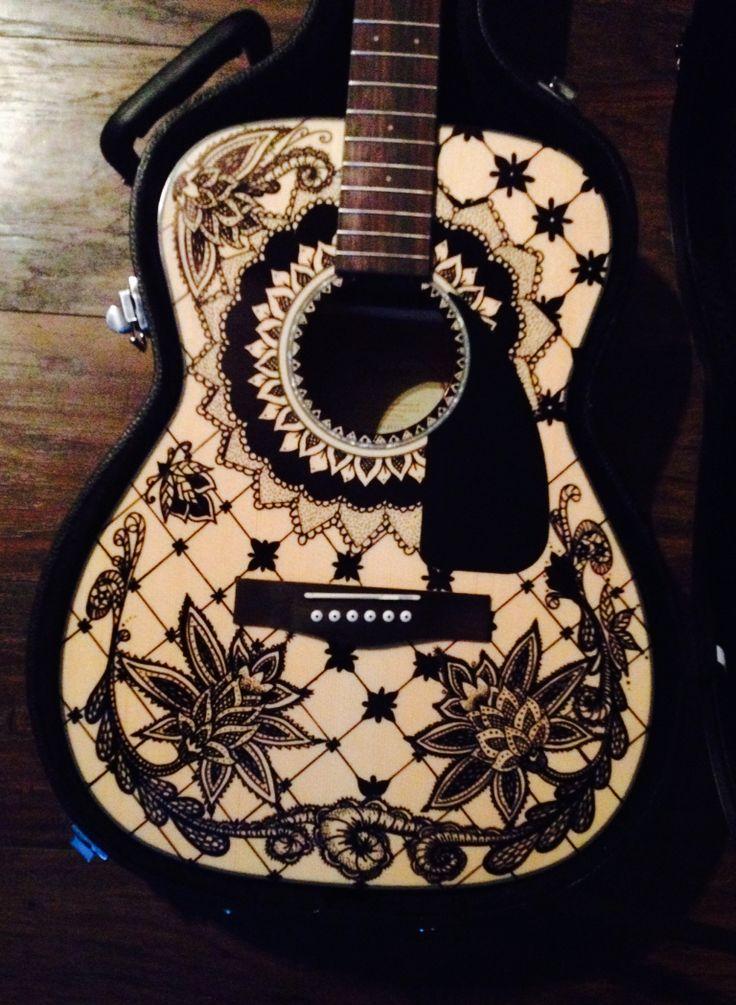 Sharpie guitar art for Acoustic guitar decoration