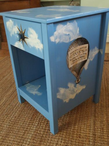 CHILDRENS BEDSIDE TABLE nursery? PAINTED shabby chic TOY box. BOYS. Childs