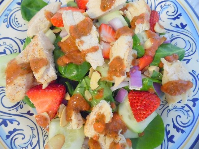 This homemade strawberry lemon basil dressing on a chicken strip salad ...