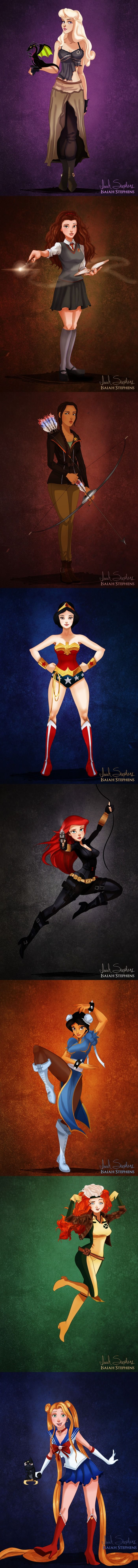 Disney Princesses Dressed Up in Pop Culture Halloween Costumes