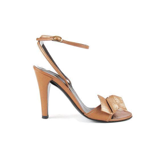 1970s CHARLES JOURDAN Paris Heels Ankle Strap Heels Bow Stilettos Tan Light Brown Leather Heels Disco Dancing High Heels Sandals (4.5) E603