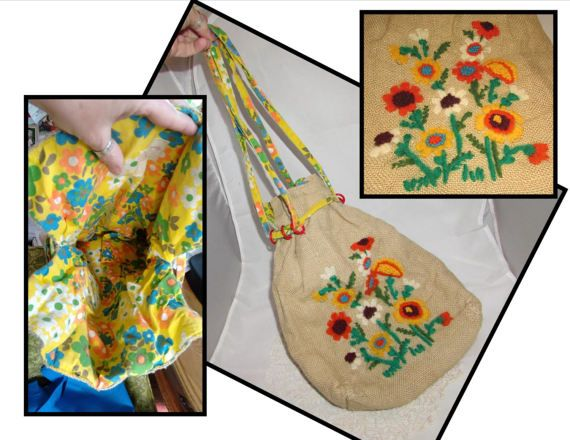 Vintage Handmade Drawstring Burlap Purse Tote Bag by PuppyLuckArt