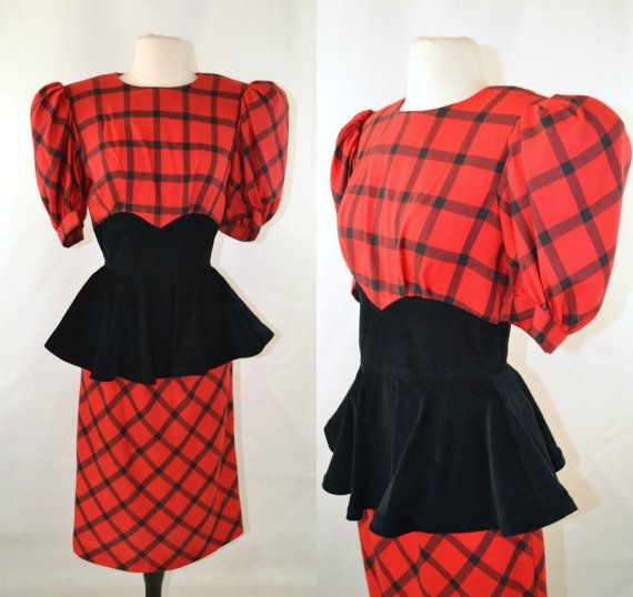 1980s Red and Black Plaid Black Corduroy Peplum Waist Dress