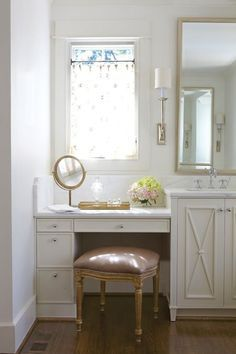 Pretty Bathroom With A Mauve Velvet French Vanity Stool Tucked Below A  Built In Ivory