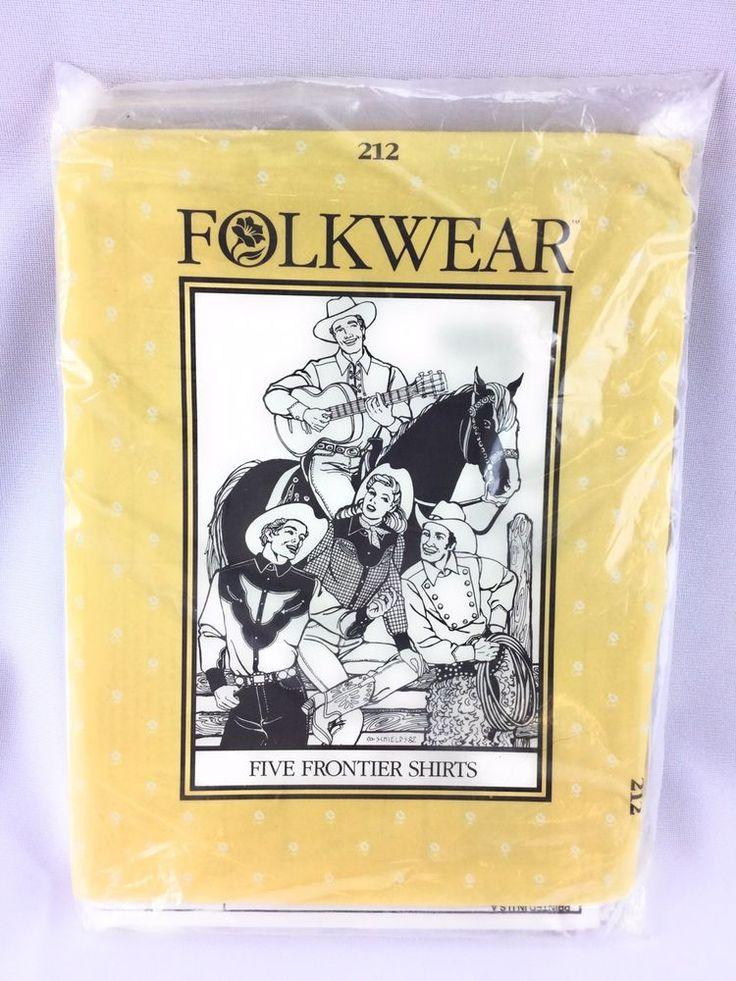 Folkwear 212 Western Costume Sewing Pattern 5 Frontier Shirts Men Women Uncut #Folkwear #ebayROCteam