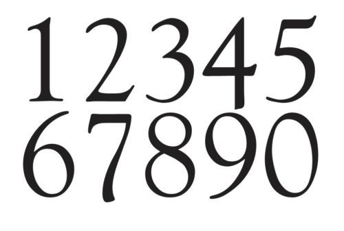 """Goudy Old Style Font Numbers STENCIL 1"""" - 4"""" Crafts Mailbox House Address"""
