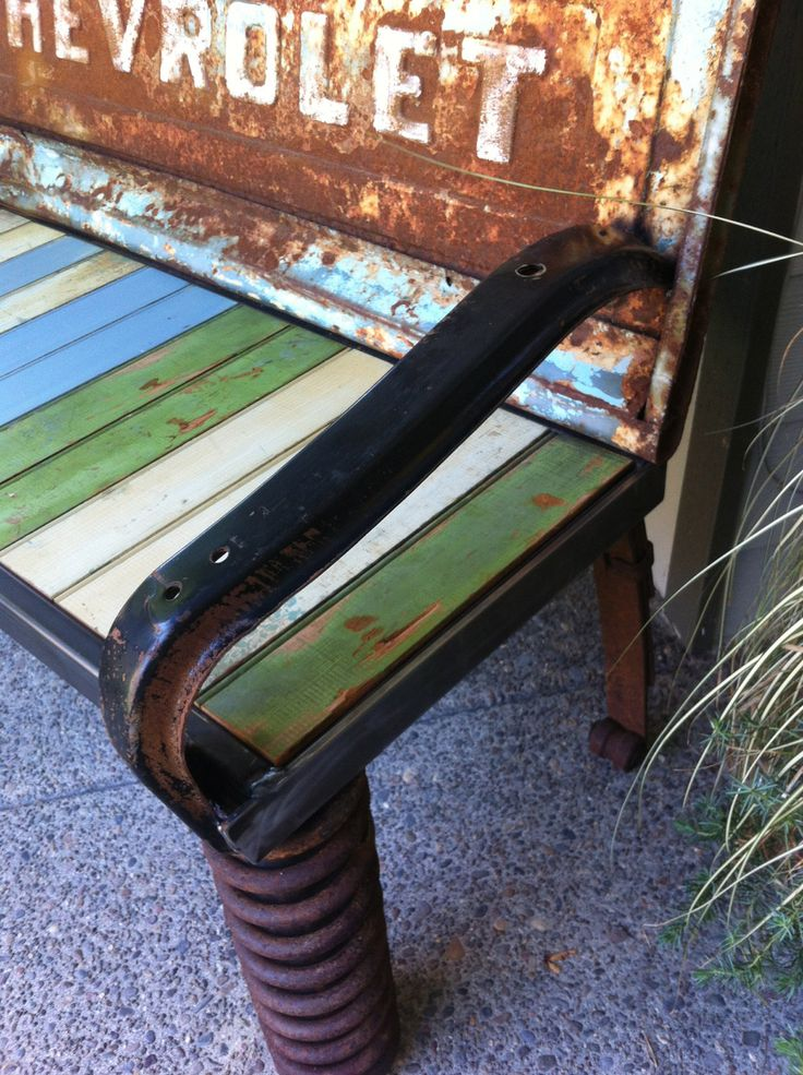 Rustic & Recycled Old Car Parts Outdoor Bench. $850.00, via Etsy.