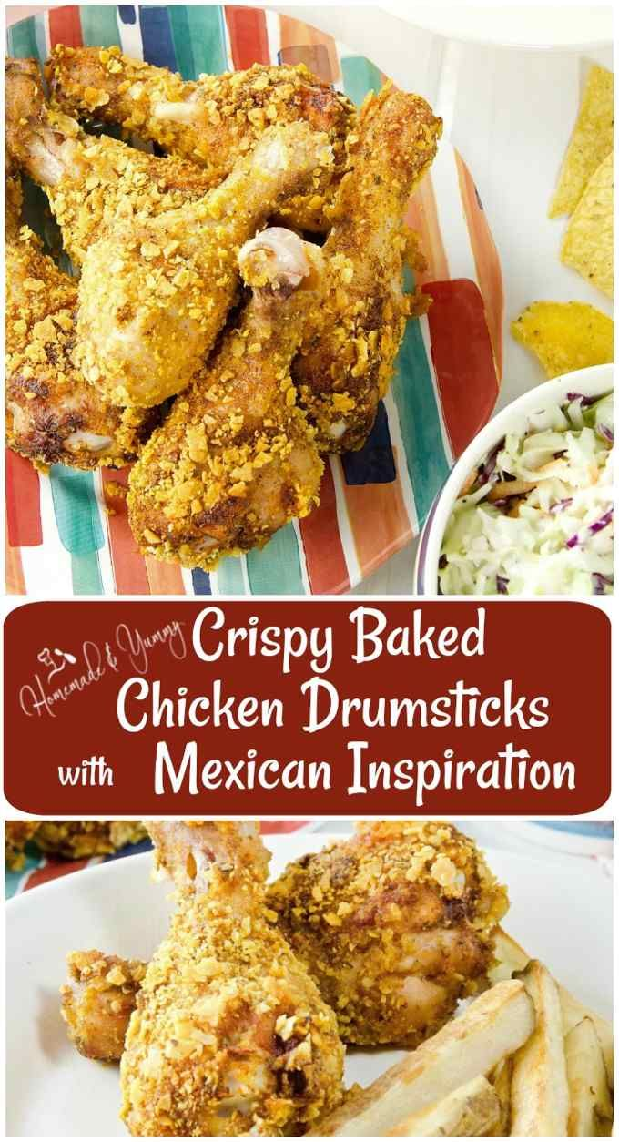 Crispy Baked Chicken Drumsticks with Mexican Inspiration Pin Image