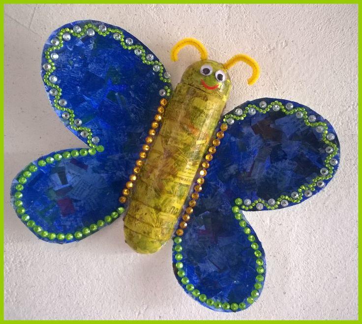 défi papillon avec papier journal