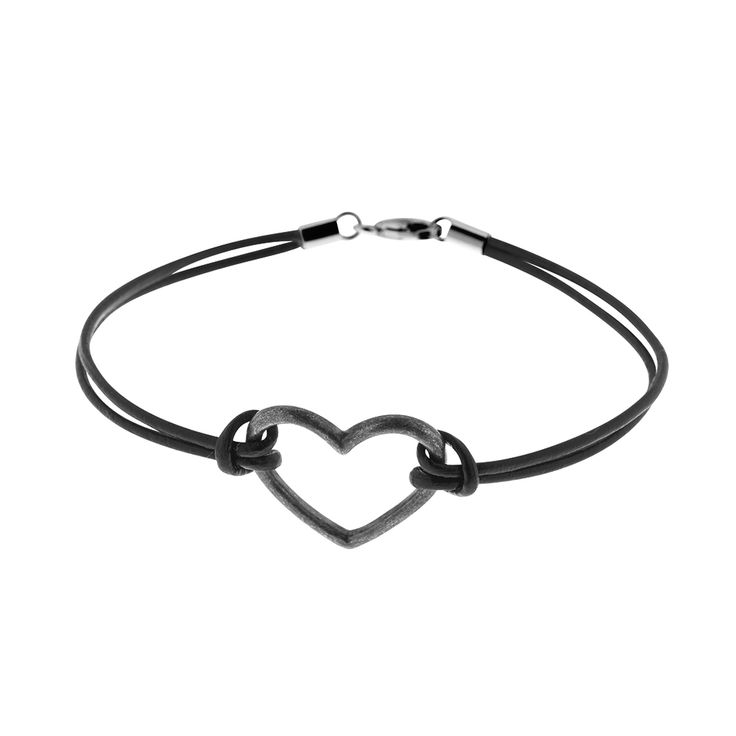 Oxidized sterling silver heart pendant for bracelet or necklace from By Malene Meden at Svane & Lührs - here shown with leather straps. We tailor-make your length. Worldwide shipping € 5: www.svane-luhrs.com.