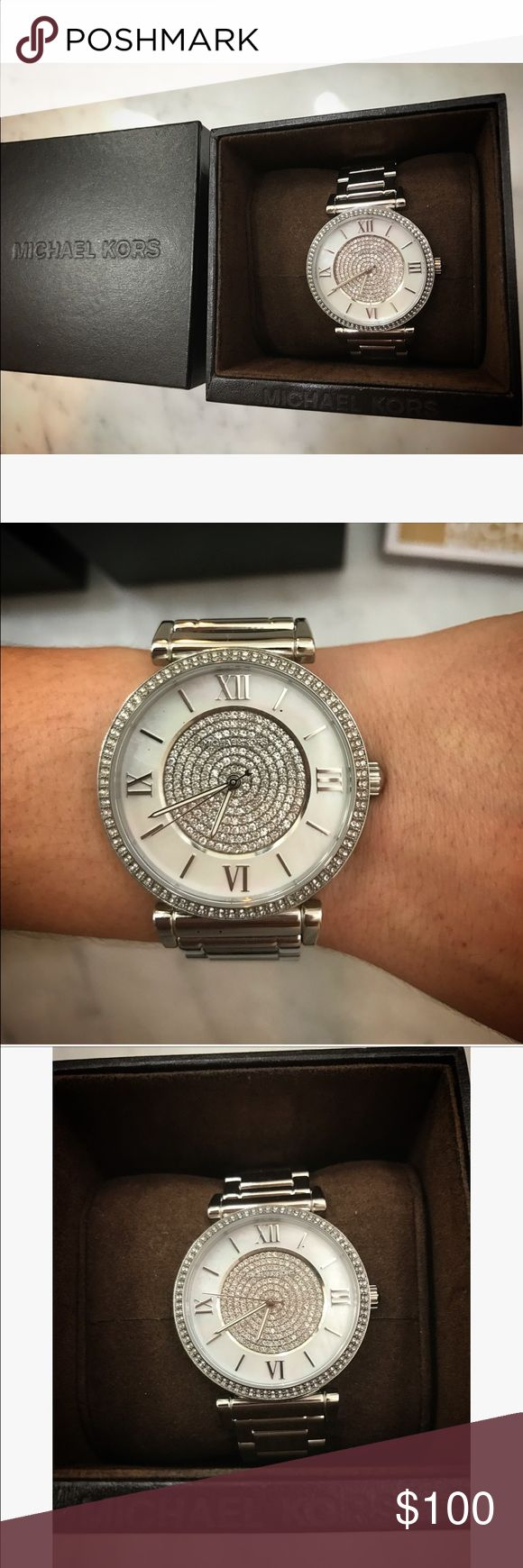 Michael Kors Watch Michael Kors Watch, new with tags, classic and perfect for all occasions, silver with bling accents, also check out my listing for a matching bracelet Michael Kors Accessories Watches