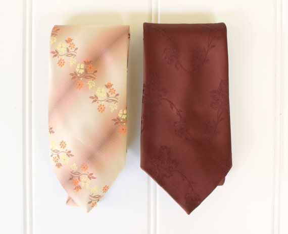 Vintage Neck Ties  Brown Multi  Flowers  Golden by catnapcottage