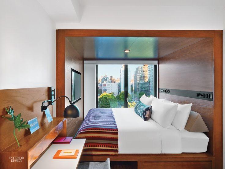 interiordesignmagazine avroko masterminds the micro hotel with arlo hudson square source link - Beaded Inset Hotel Decoration