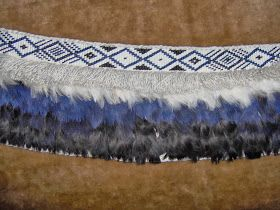 This arapaki is made from the feathers from two pukeko pelts, and some white hen feathers.  It was made using the new string used double. I ...