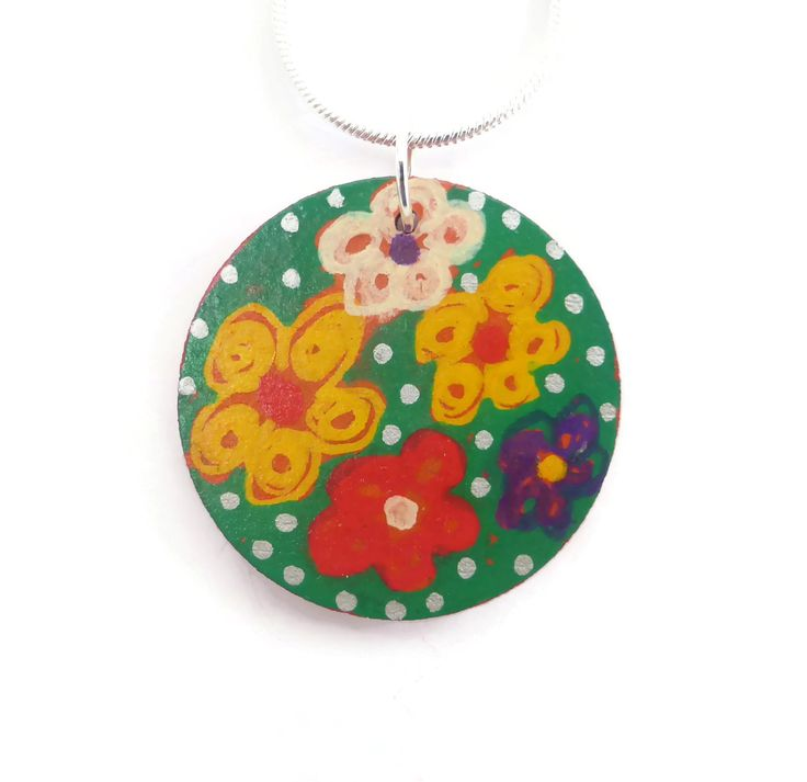 Multicolor Flower Necklace, Hand Painted Flower Pendant, Simple Boho Necklace, Wooden Jewellery, Flower Jewelry, Easter Necklace, For Her by Larryware on Etsy