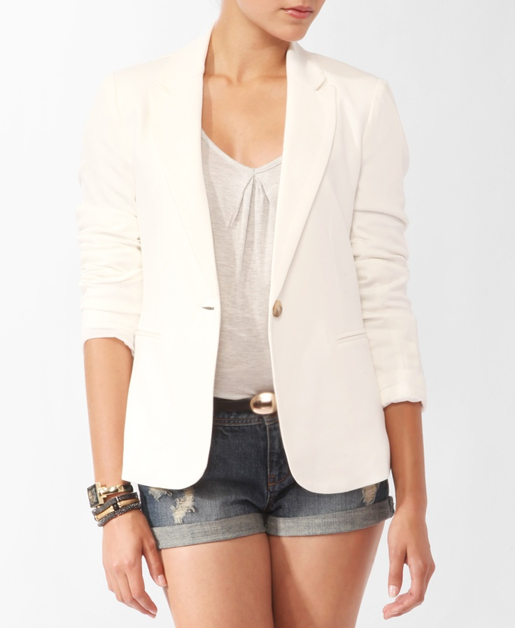 A crisp white blazer!: Dreams Closet, 2Nd Closet, White Jackets, Pont Knits, Closett Dreams, White Blazers 3, Forever21, 21 Blazers, Knits Jackets