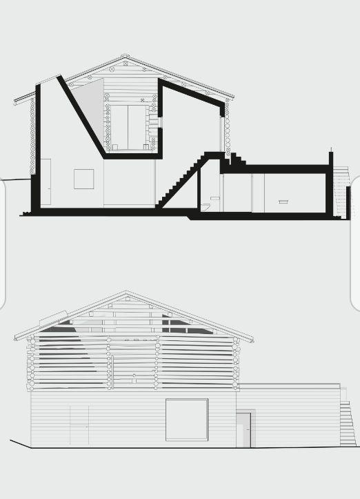 Hans Jorge Ruch Da un fienile ... una casa Prospetto e sezione