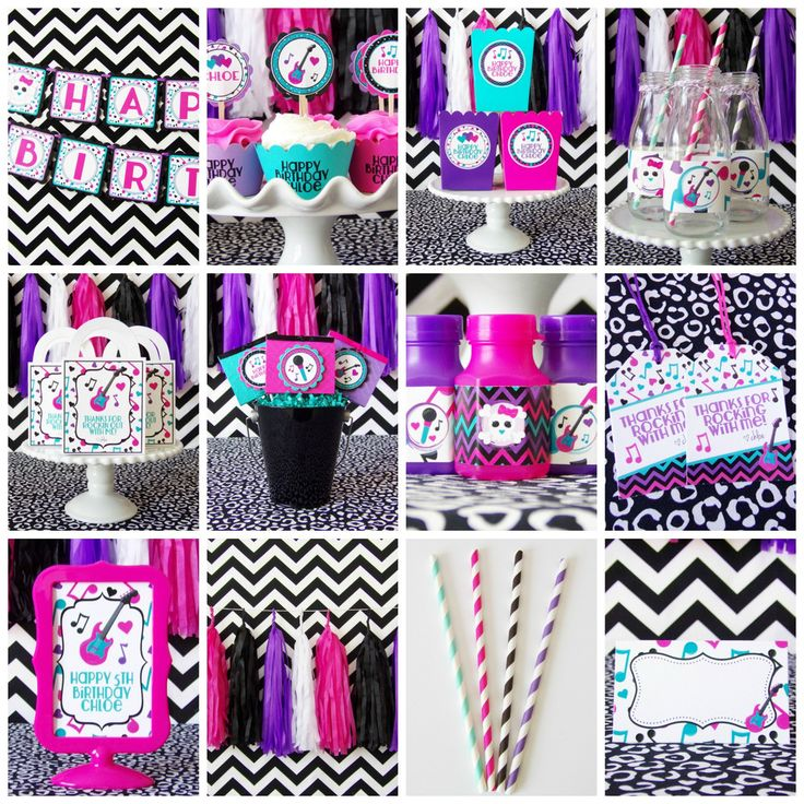 Rock Star Party Package {Deluxe} #birthday #black #cupcake-picks