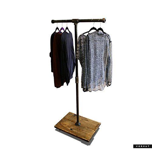 Vorhut 'Hadfield' - Vintage Industrial Scaffold Board T-bar Clothes Rail & Shoe Rack in Blackened Steel