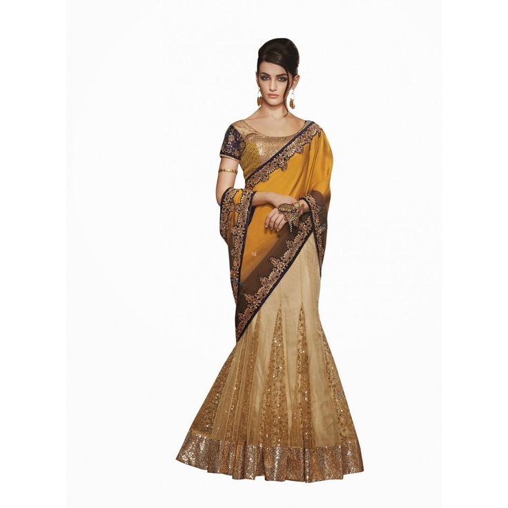 Orange and Beige Satin Wedding Lehenga #Saree With Blouse- $139.29