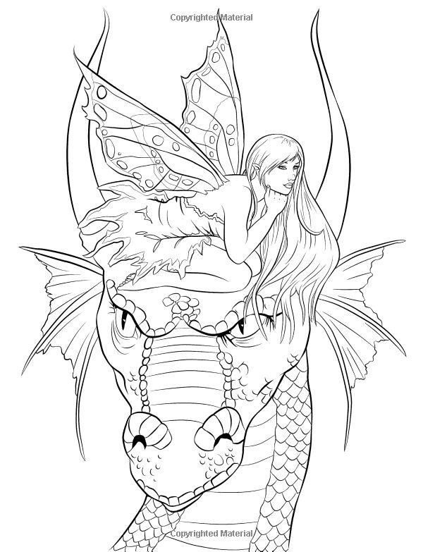 fantasy realistic fairy coloring pages - photo#31