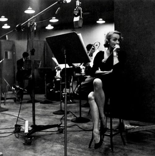 Marlene Dietrich recording at Columbia Records Studio, 1952.