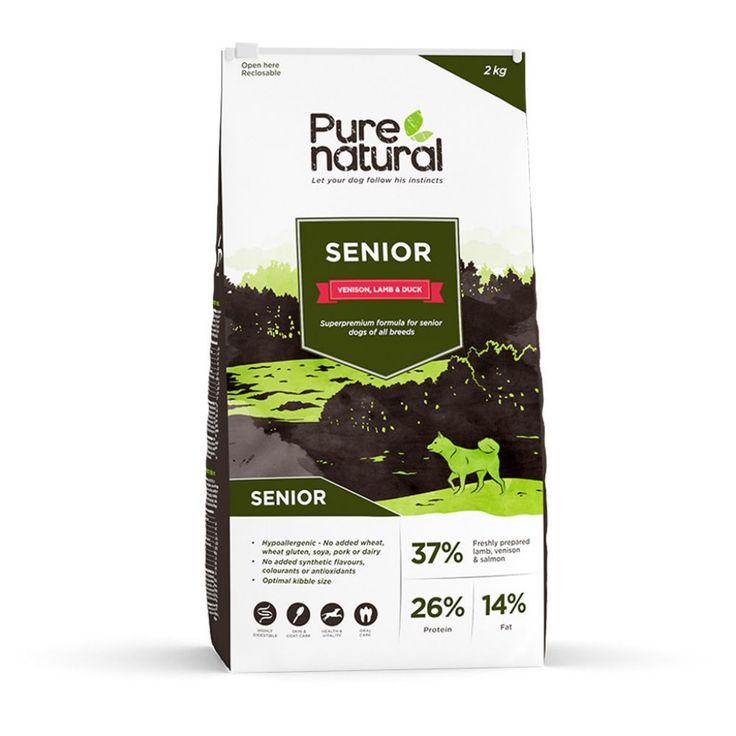 Purenatural Senior Dog -kuivaruoka on valmistettu luonnollisista sekä puhtaista raaka-aineista ja suunniteltu erityisesti ikääntyville koirille.
