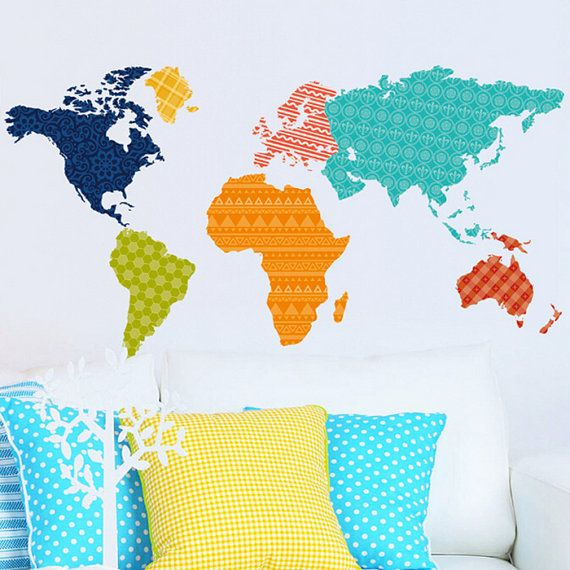 Large Vinyl wall World map decal  Removable by RockyMountainDecals