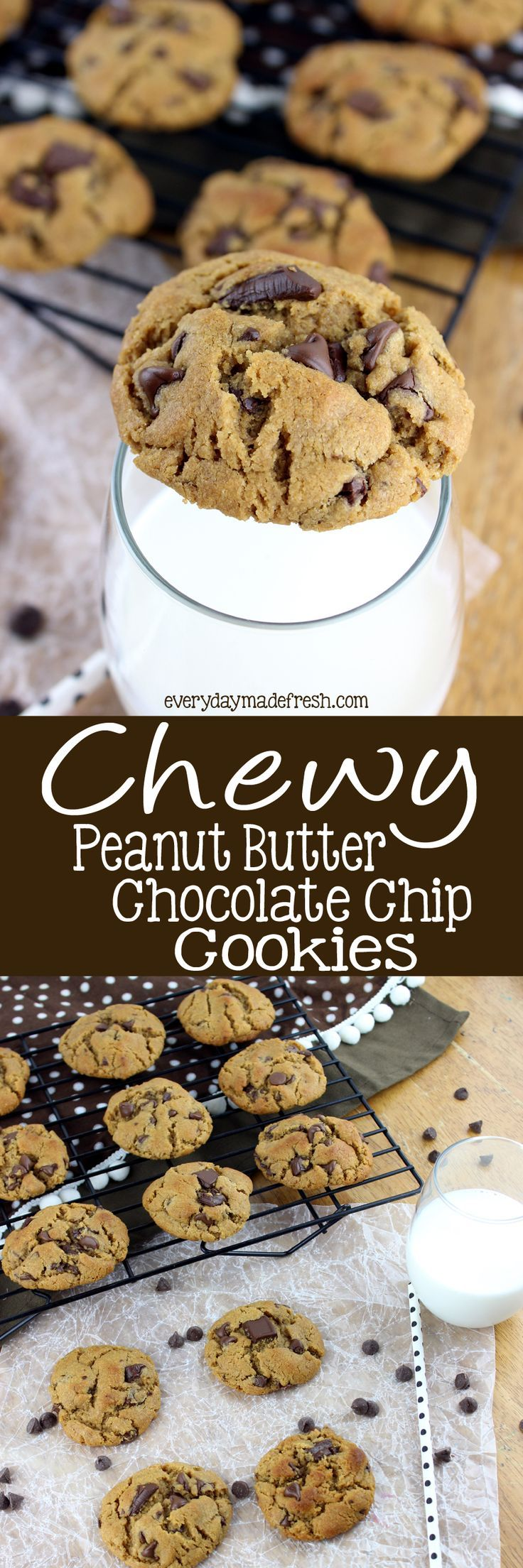 Perfectly Chew Peanut Butter Chocolate Chip Cookies are easy to make, flour free, and have that perfect chewy cookie texture! | Everydaymadefresh.com http://www.everydaymadefresh.com/chewy-peanut-butter-chocolate-chip-cookies-3/