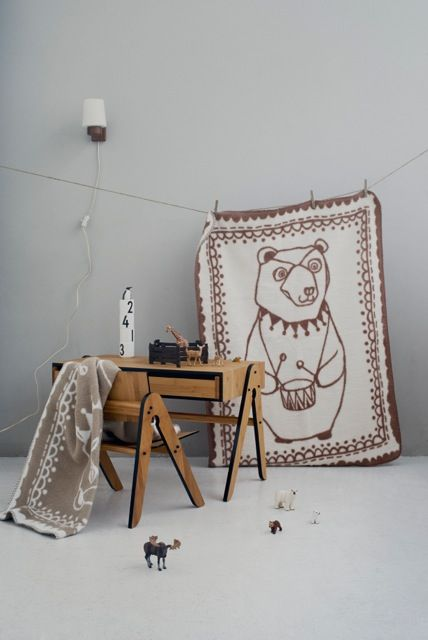 Circus Bear Organic Cotton Blanket, by FabGoose, Geos Desk and Lilly Chair, by WeDoWood, Black and Brown, Kids interiors.