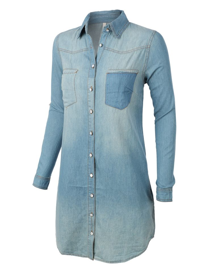LE3NO Womens Classic Loose Fit Chambray Jean Denim Shirt Dress with Pocket