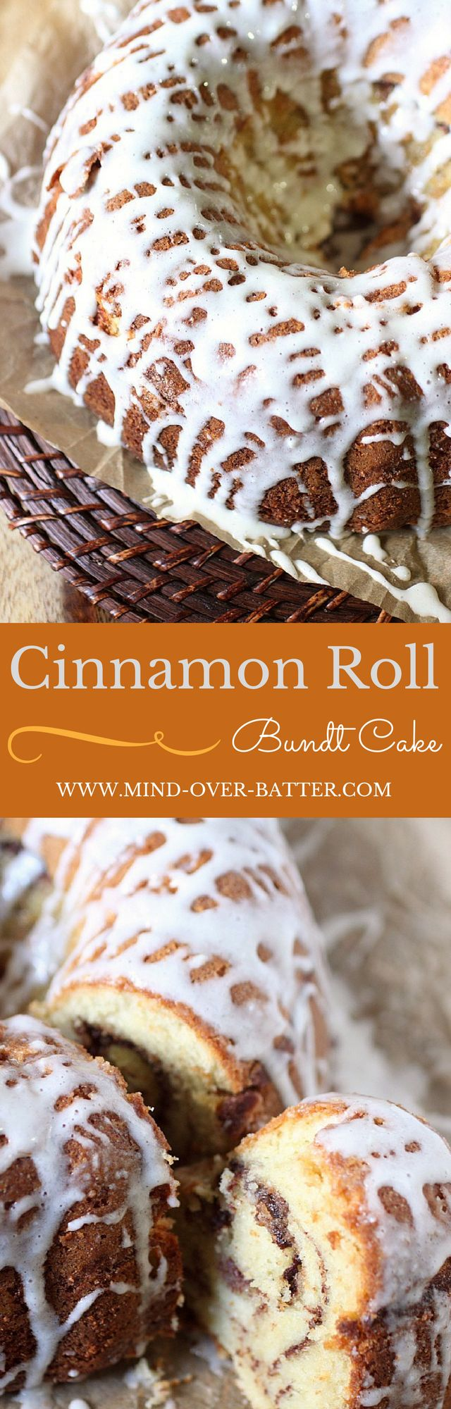 A tender pound cake with flecks of vanilla bean paste, swirls of spicy cinnamon sugar, and a tangy cream cheese icing. This Cinnamon Roll pound cake is like the Cinnamon Roll's sophisticated older brother. You know, if there were such a thing! www.mind-over-batter.com