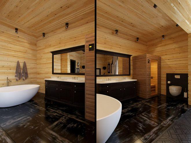 Ванная комната. Дизайн интерьера частного загородного дома (коттеджа) в стиле шале, 180 кв.м.