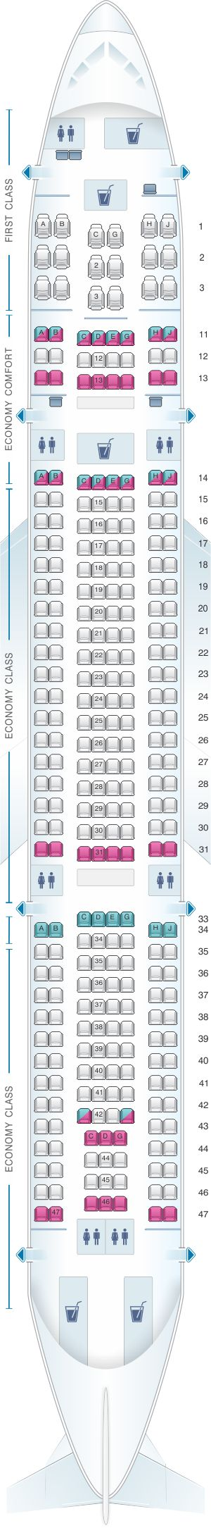 Seat Map Hawaiian Airlines Airbus A330 200