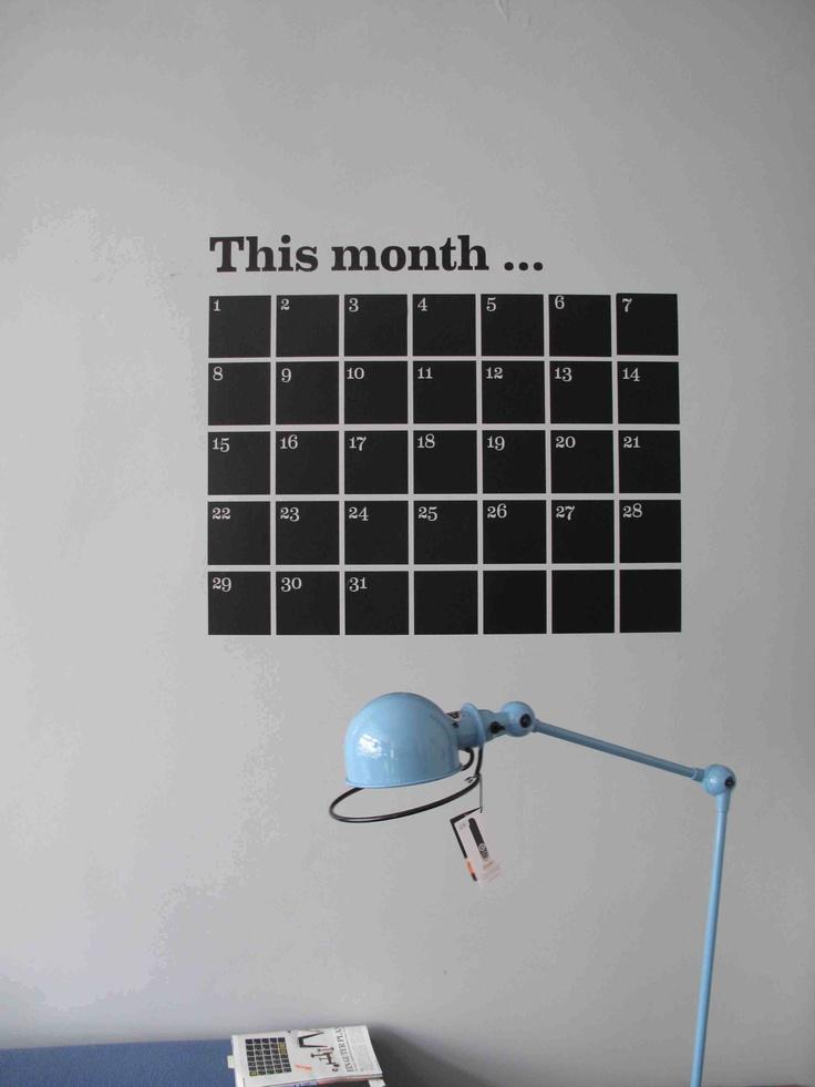 wallsticker calender: Blackboard Wall, Wall Organisation Lys Hamburg, Organi Idea, Grid Calendar, Wall Paintings, Kalend Calendar, Wall Calendar, Nice Idea, Brilliant Design
