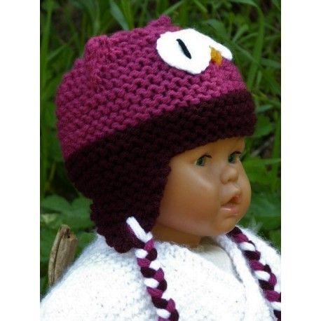 Très joli petit bonnet péruvien hibou tricoté-main en laine acrylique douce  et chaude . edd2d2d2be5