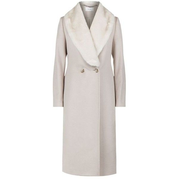 Reiss Franchesca Faux Fur Collar Coat (31.905 RUB) ❤ liked on Polyvore featuring outerwear, coats, reiss coat, faux fur shawl collar coat, lapel coat, faux fur collar coat and reiss