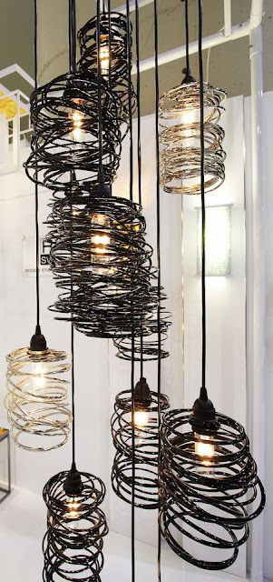 spiral nest metal light fixtures by Ridgely Studio Works