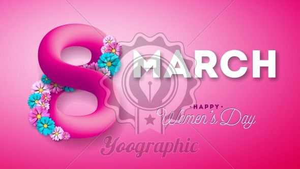 8 March. Happy Women's Day Greeting card. International Holiday Illustration with Shiny 3d Eight on Pink Background. Vector Template. - Royalty Free Vector Illustration