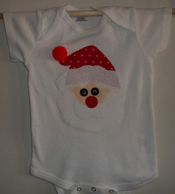 Christmas Santa Applique Onesie Bodysuit by wreathsNmorebyTerry, $10.00