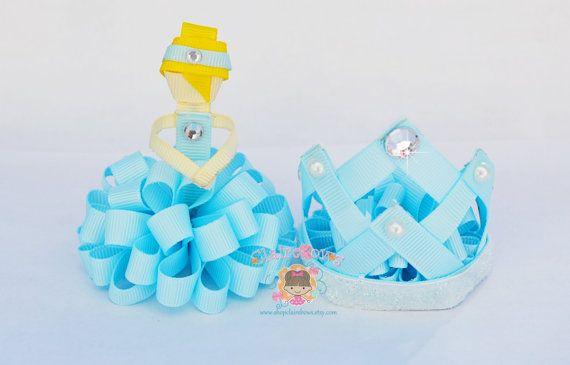 Cinderella Puff Set Tiara Princess Clip Ribbon Sculpture Bow OOAK