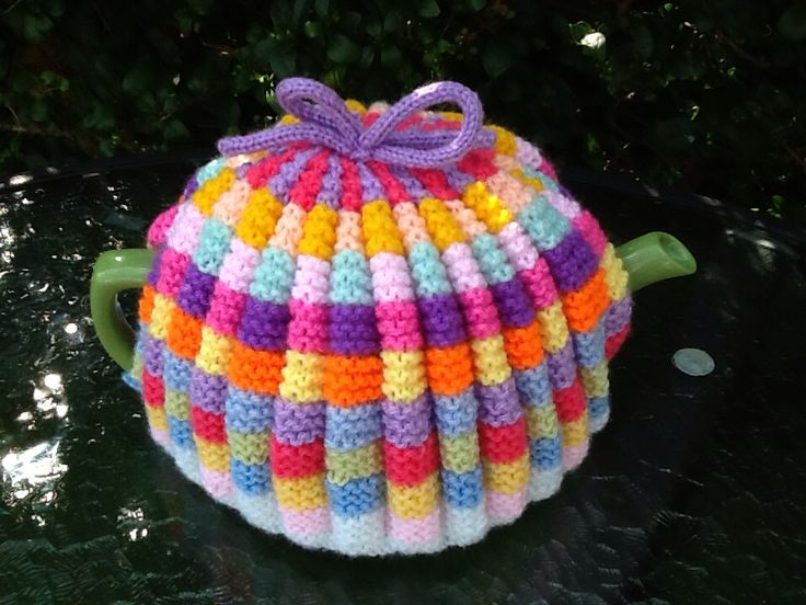 Multi coloured pleated teacosy