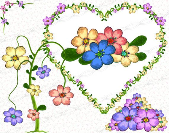 Digital scrapbooking flowers frames and heart borders, graphic design flourish plant doodles and ornaments drawing clipart. https://www.etsy.com/listing/245000546/instant-download-300dpi-png-flower-frame?ref=shop_home_active_15