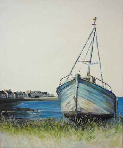 Tableau en peinture (huile), représentant un bateau échoué dans le port du Fret (Crozon).