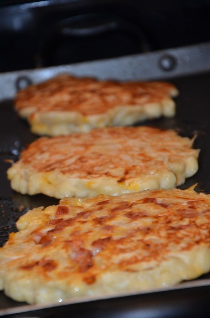 Mac 'n Cheese Pancakes. Life is short, too short, not to try Macaroni and Cheese Pancakes!