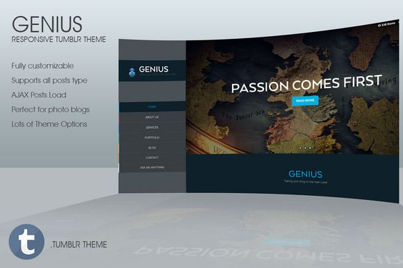 Check out Genius - Responsive Tumblr Theme on Creative Market