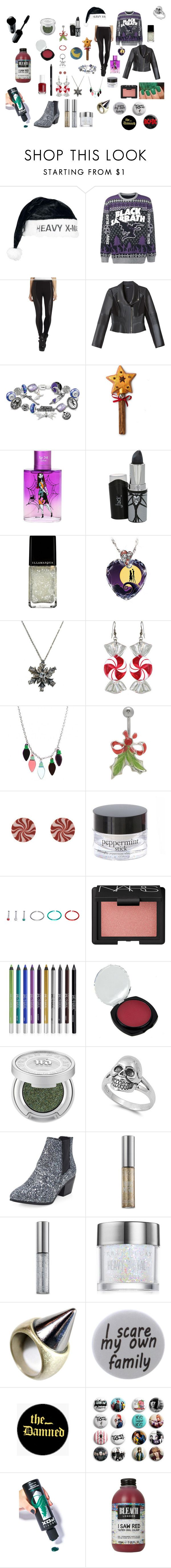 """""""Have yourself a heavy metal Christmas"""" by thegallowisgod ❤ liked on Polyvore featuring BCBGMAXAZRIA, Bebe, The Bradford Exchange, Jack Black, Illamasqua, Punky Pins, NARS Cosmetics, Urban Decay, Essie and Humör"""